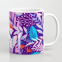Exotic Purple Floral Pattern Coffee Mug