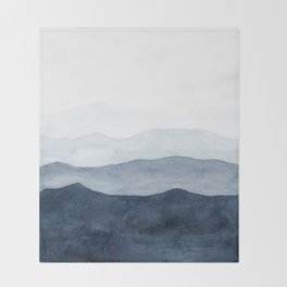 Indigo Abstract Watercolor Mountains Throw Blanket
