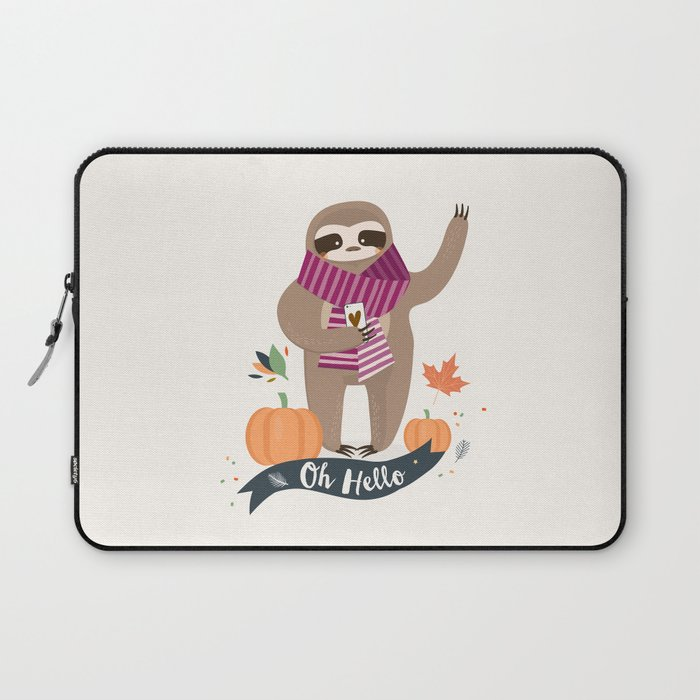 Comfy Sloth for the Fall & Pumpkin Laptop Sleeve