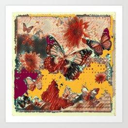 Artistic Monarch Butterflies Design Rustic Pattern Art Print