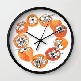 Persimmon Wreath Wall Clock
