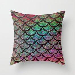 Merlot Mint Scales Throw Pillow