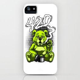 Smoking Teddy Weed Cannabis 420 Stoner Stoned Gift iPhone Case