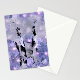 ELEPHANT AND LILAC PURPLE VIOLET BLOSSOMS Stationery Cards