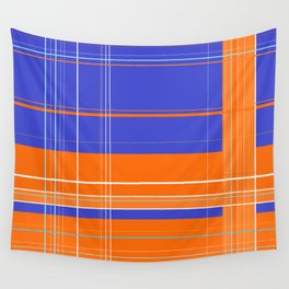 Orange and Blue Plaid Wall Tapestry
