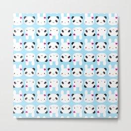 Super Cute Kawaii Bunny and Panda Metal Print