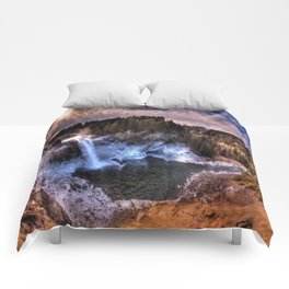 Waterfall from sky view Comforters