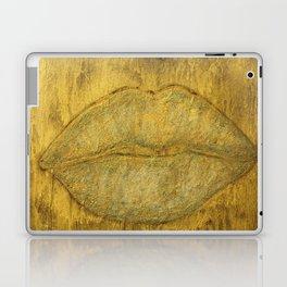 Gold glitter lips-salon art-sparkle-wall art-painting-black and gold-girly stuff-abstract Laptop & iPad Skin