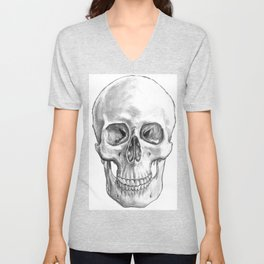 Human Skull Anatomy Unisex V-Neck