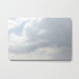 Raindrops flowing down on window glass Metal Print