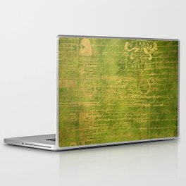 Green with Gold Script Laptop & iPad Skin