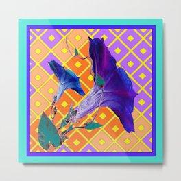 Aqua Purple Gold Morning Glories Metal Print