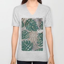 Tropical Leaves Nature Print Palm Fronds Unisex V-Neck