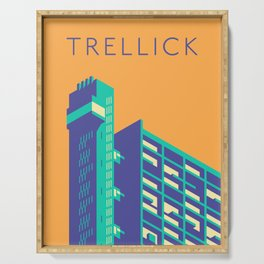 Trellick Tower London Brutalist Architecture - Text Apricot Serving Tray