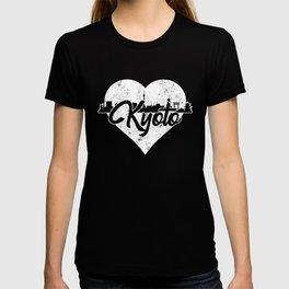 Retro Kyoto Japan Skyline Heart Distressed T-shirt