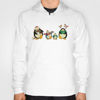 cartoons Hoodies featuring Penguin family  by mangulica illustrations