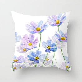purple cosmos flowers in bloom Throw Pillow