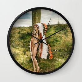 2542 Nude Cactus Girl ~ SurXposed ~ Nude Girl Naked in a Arizona Cactus Desert Wall Clock