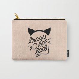 Crazy Cat Lady Calligraphy Lettering with Cat Ears & Whiskers on Pink Carry-All Pouch