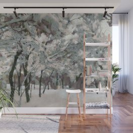 Trees covered in snow Wall Mural