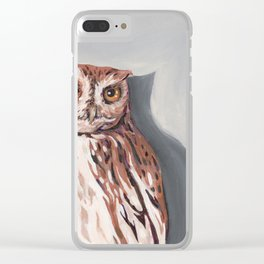 Red Screech Owl Clear iPhone Case