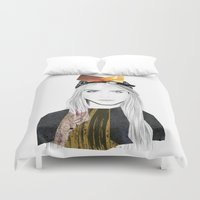 cara Duvet Covers featuring CARA DELEVINGNE by Nora Fikse