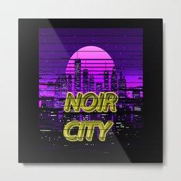 Noir City Vaporwave Outrun Synthwave Aesthetic Metal Print
