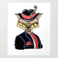gangster Art Prints featuring Gangster Kitty by J&C Creations