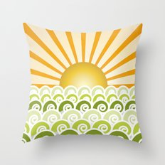 Along the Waves Green Throw Pillow