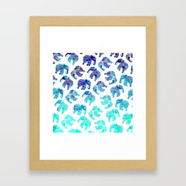 Boho turquoise blue ombre watercolor hand drawn mandala elephants pattern Framed Art Print