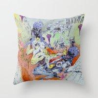 best friends Throw Pillows featuring best friends by Kira Leigh