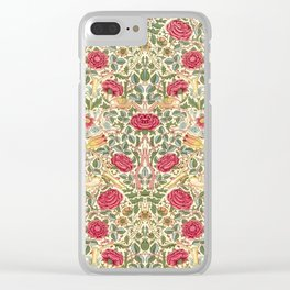 "William Morris ""Rose"" Clear iPhone Case"