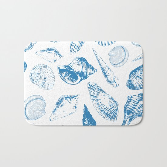 Tropical underwater creatures in blue and white Bath Mat