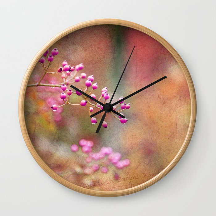 Pink Berries with Pink Orange and Gold Tie Dye Wall Clock
