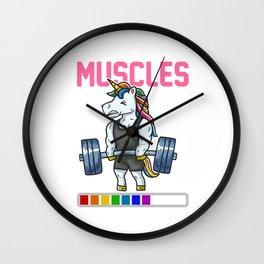 Installing Muscles Unicorn Deadlift Fitness Weightlifting design Wall Clock
