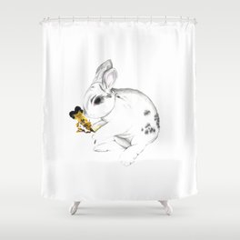Some'bunny' Loves You (Single Bunny/White) Shower Curtain