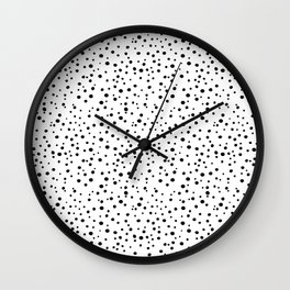 PolkaDots-Black on White Wall Clock