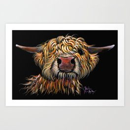 Scottish Highland Cow ' POPEYE ' by Shirley MacArthur Art Print