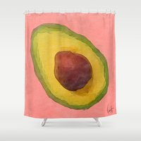 selena gomez Shower Curtains featuring Avocado for Lola by Xchange Art Studio