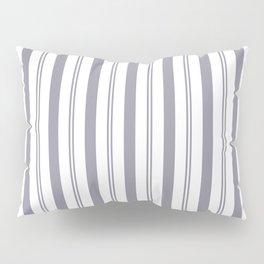 Pantone Lilac Gray & White Wide & Narrow Vertical Lines Stripe Pattern Pillow Sham