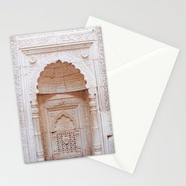 Qutub (Qutb) Minar, Intricately Carved Minaret Temple Wall in India - Sacred Archiecture Stationery Cards