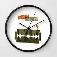 blade runner Wall Clocks featuring Blade Runner by Marta Colomer