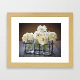 Roses in Glass Jars Framed Art Print