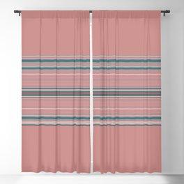 Blush Pink Teal Stripe Design Blackout Curtain