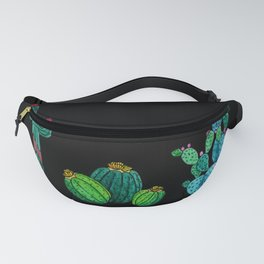 Gouache Watercolor cactus black background Fanny Pack