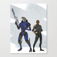 garrus Canvas Prints featuring Shepard and Garrus by Joe Byrne