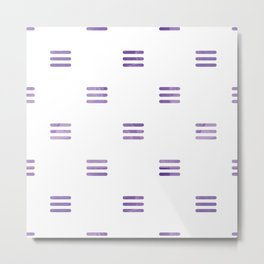 Violet Purple Stripes Pattern White Backgrund Metal Print