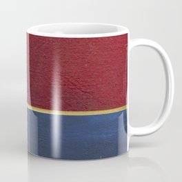 Deep Blue, Red And Gold Abstract Painting Coffee Mug