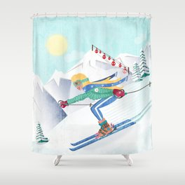 Skiing Girl Shower Curtain