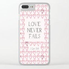 Love Never Fails - 1 Cor 13:8 Clear iPhone Case